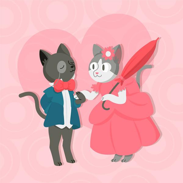 穿礼服的情侣猫咪