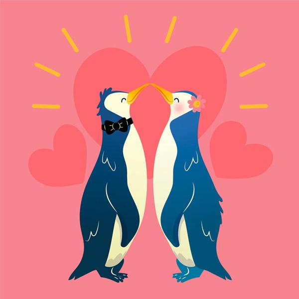 企鹅情侣和爱心