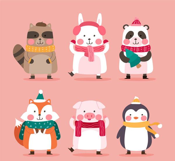 可爱微笑冬季动物