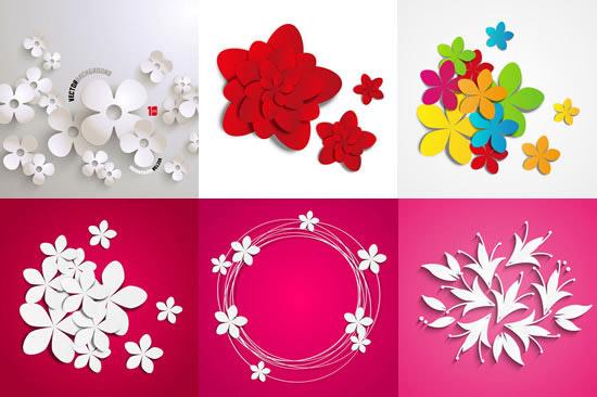 立体花朵矢量素材,立体花朵,三维鲜花,花瓣剪纸,花卉插画,花朵eps