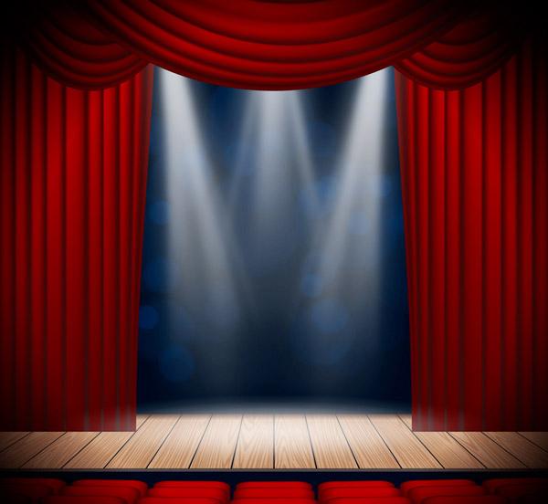 红色幕布舞台