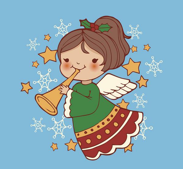 可爱吹号的天使