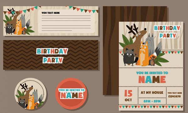 动物生日邀请卡片