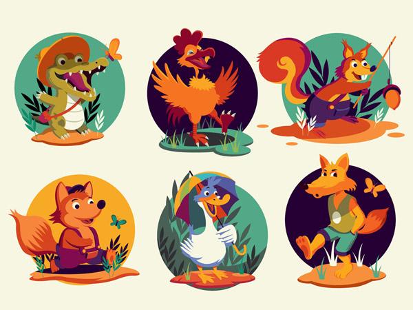 卡通玩耍动物