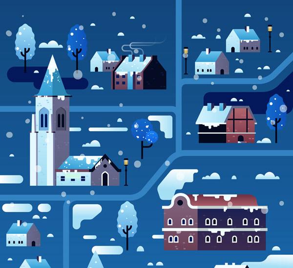 冬季雪夜小城