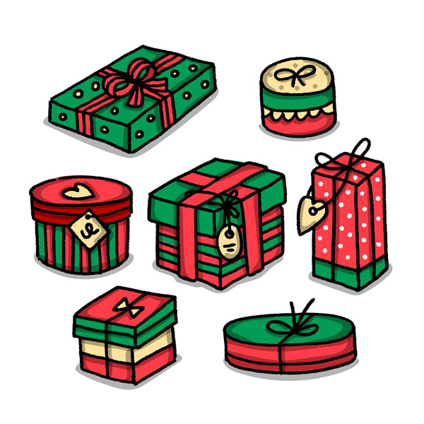 红绿拼色节日礼盒