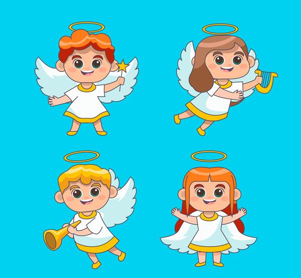 卡通绿眼睛天使
