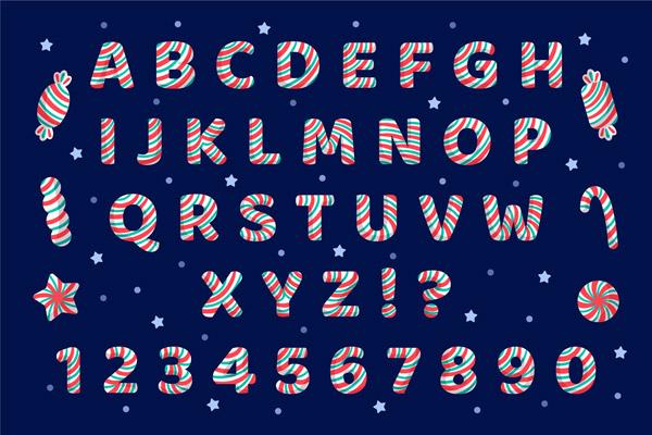 条纹糖果字母