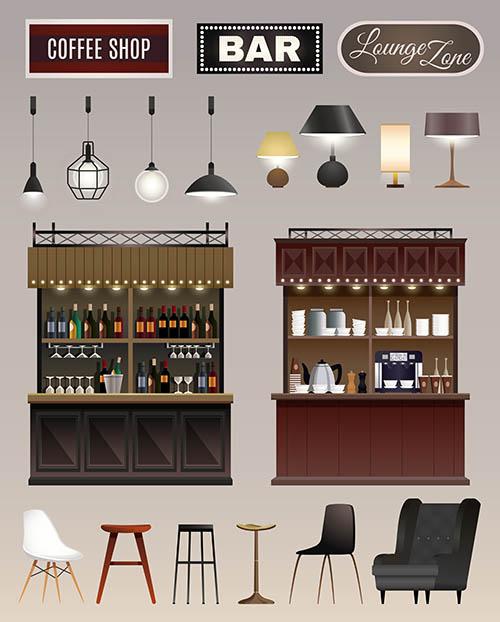 酒吧内部陈列家具