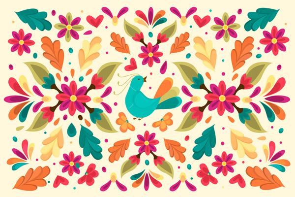 花卉和鸟无缝背景