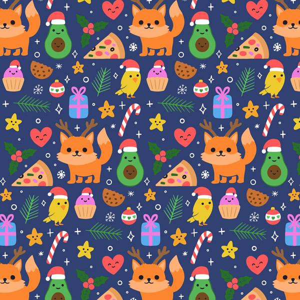圣诞狐狸和食物背景