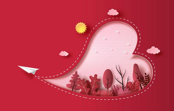 纸飞机轨迹爱心