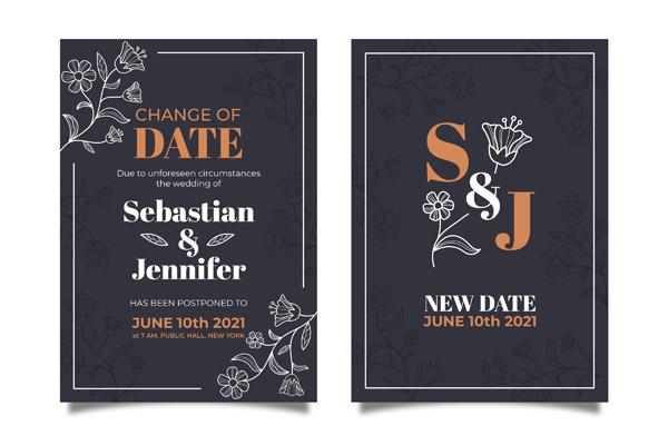 花卉装饰婚礼邀请卡