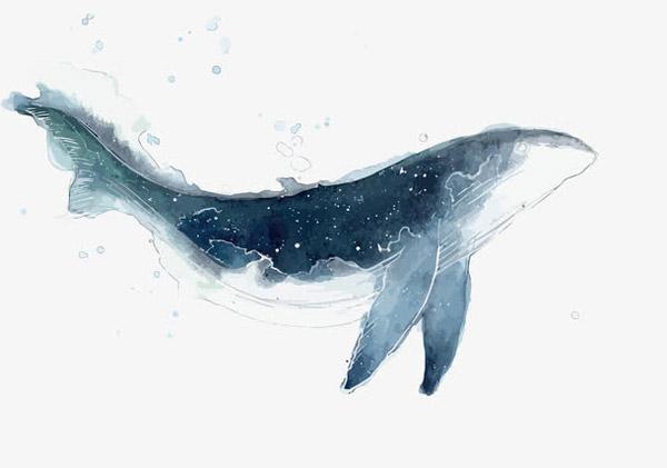 矢量水墨鲸鱼