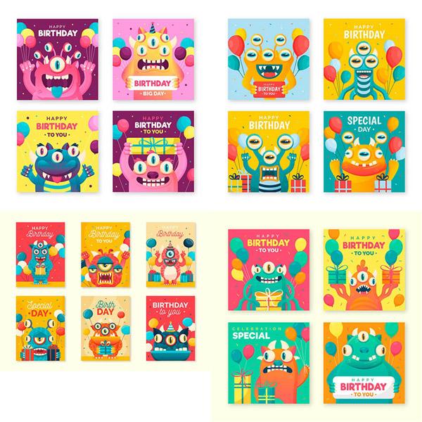 小怪兽生日卡2