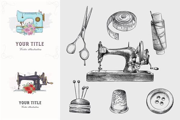 缝纫机创意矢量