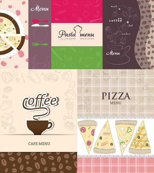 披萨与咖啡豆图案