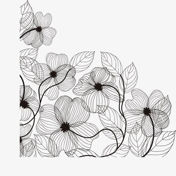 复古黑色线条花丛