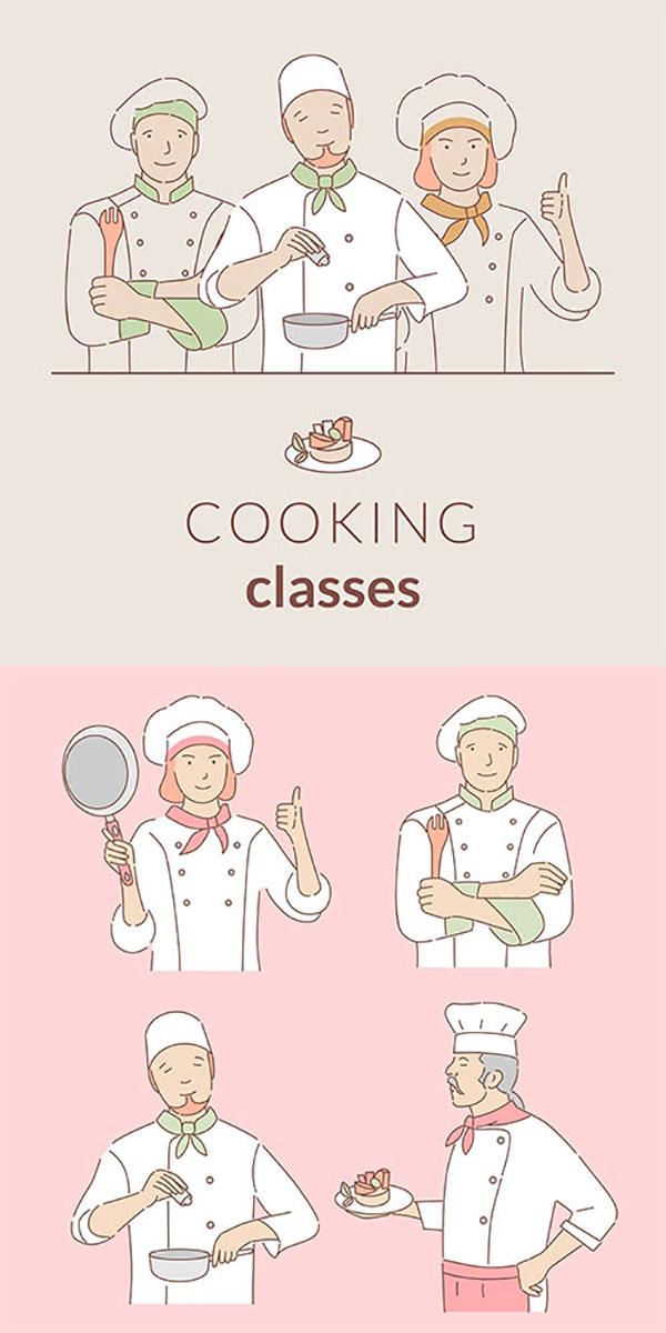 厨师简笔插画