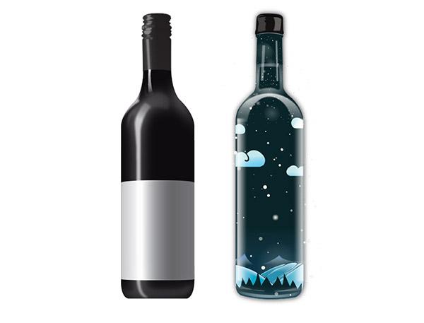 彩绘葡萄酒瓶矢量
