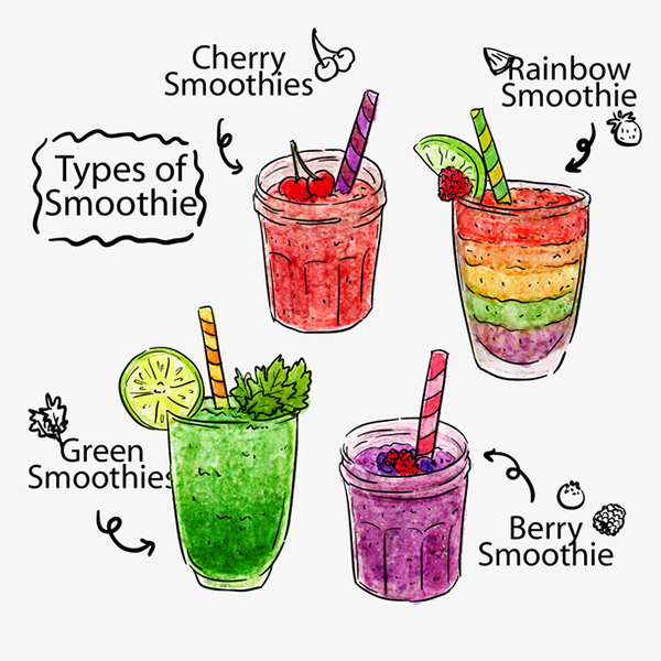 凉爽水果果汁矢量
