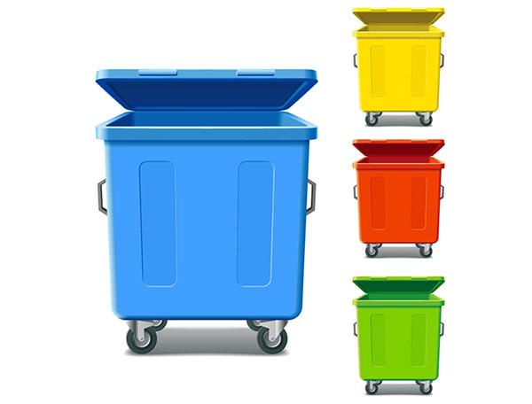 彩色滚轮垃圾桶