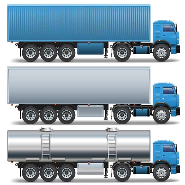 集装箱车和油罐车矢量