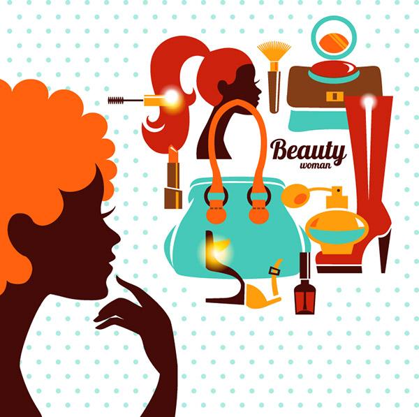 女孩剪影与化妆品