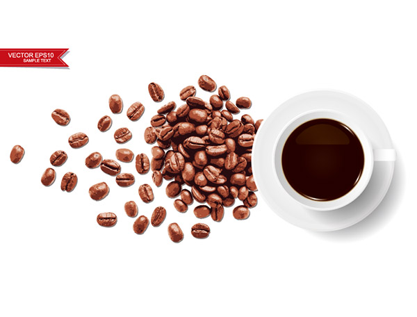 咖啡杯和咖啡豆矢量