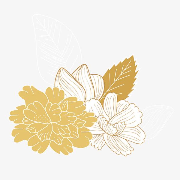金色花朵矢量装饰