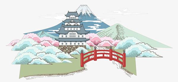 彩色水墨日本风景