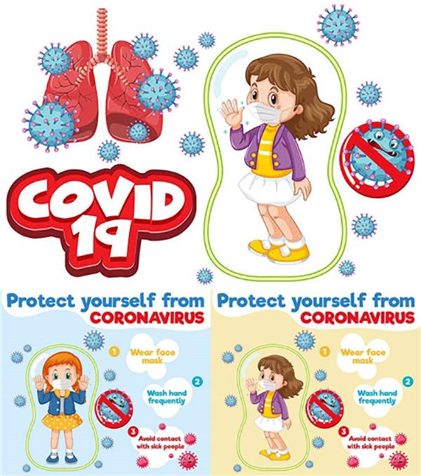 防疫抗疫创意插画