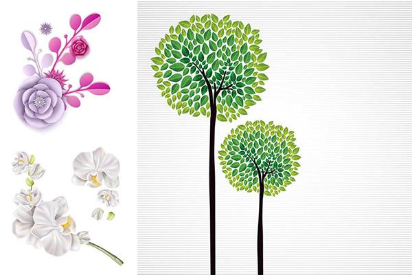 绿叶大树与花朵