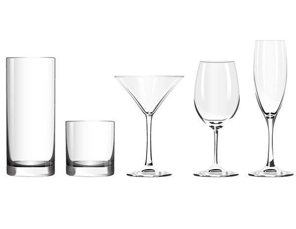 玻璃杯和高脚杯矢量