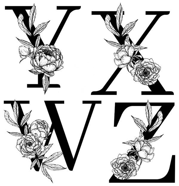 线描花朵装饰的字母3