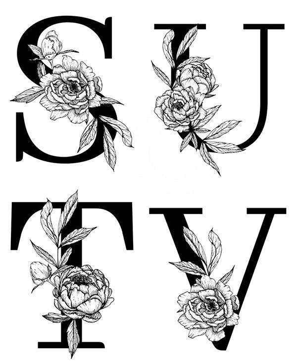 线描花朵装饰的字母4