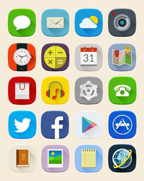 短信,天气,时钟,日历,记事本,电话,导航,系统标志,图标ai矢量素材下载