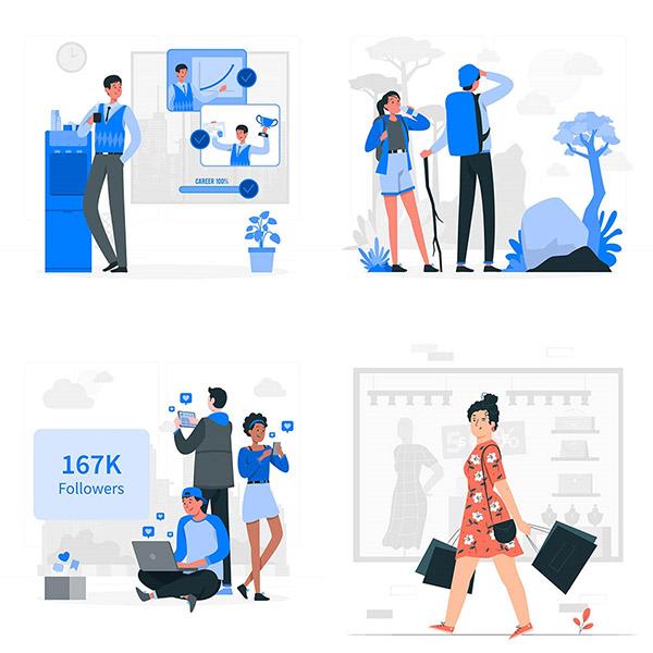 职场与购物等人物插画