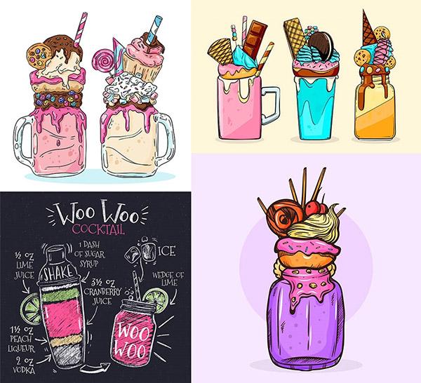 饼干冰淇淋与鸡尾酒