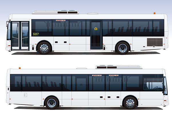 白色公交巴士矢量