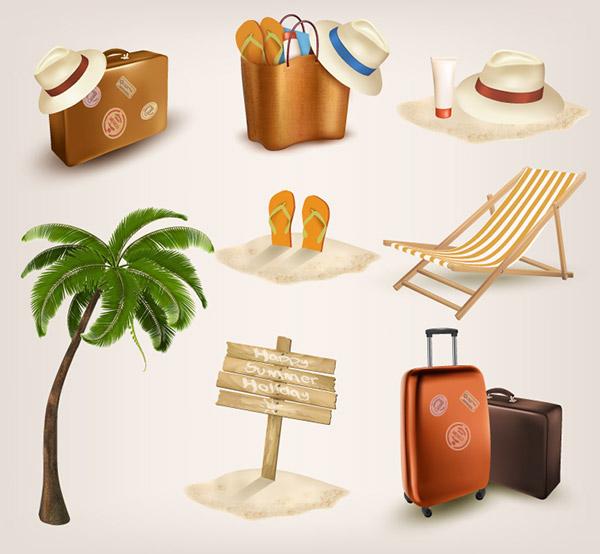 海滩旅游元素矢量