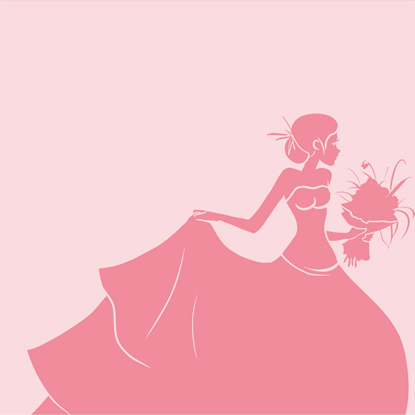 手捧鲜花的新娘剪影