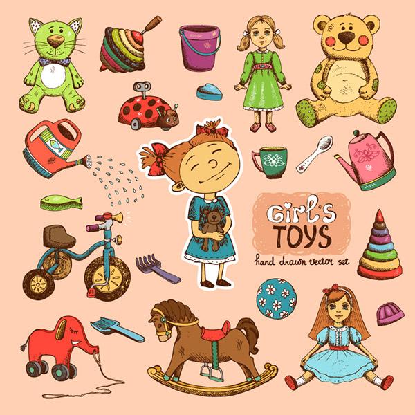 手绘风格女孩玩具