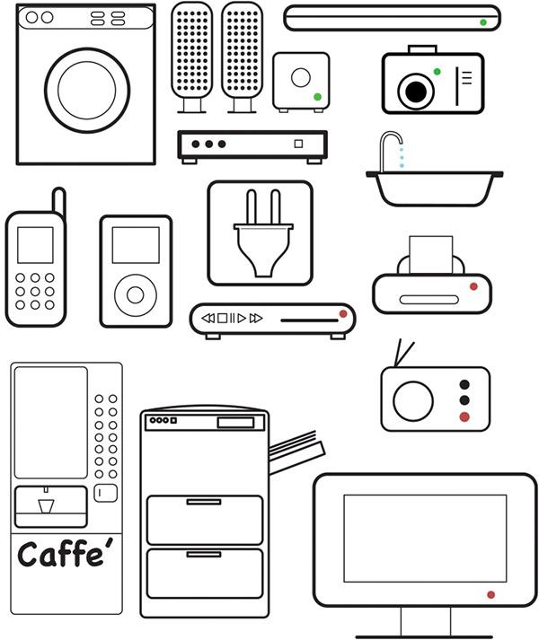 线描生活用品和电器