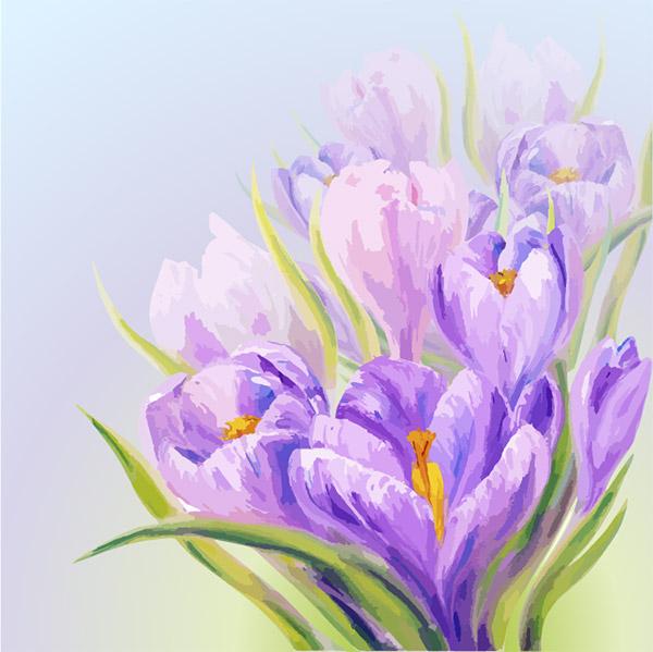 紫色花卉水彩画