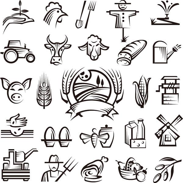 手绘农场主题图标