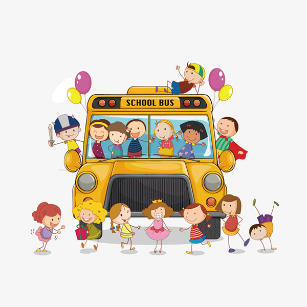 载满小孩的校车矢量