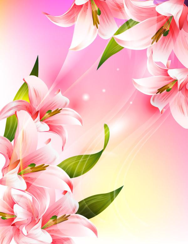 粉色百合花矢量