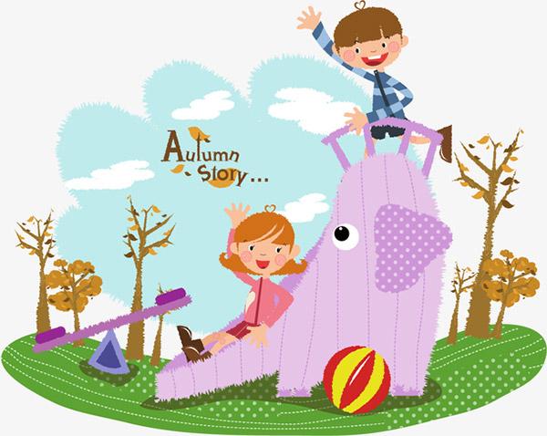 秋天儿童玩耍矢量