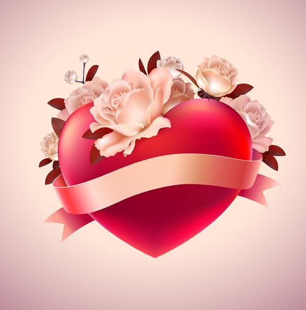 情人节浪漫红心花卉